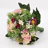 Variopinto mazzolino estivo artificiale, rosa-fucsia, 25 cm, Ø 20 cm- Bouquet artificiale / Decorazione matrimonio - artplants