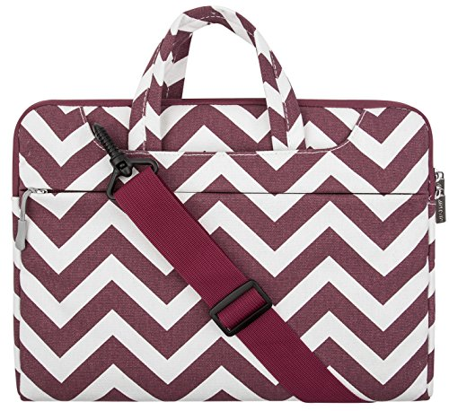 MOSISO Chevron Borsa Laptop Custodia Cover con Tracolla Compatibile 15-15,6 Pollici Nuovo 2018/2017/2016 MacBook PRO con Touch Bar A1990/A1707,MacBook PRO, Notebook,Ultrabook da 14 Pollici,Vino Rosso