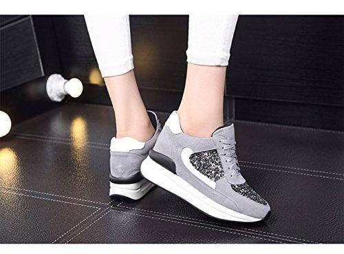 Damen Modische Sneakers Nubukleder Pailletten Dicke Keilabsatz Anti-Rutsche Schnürhalbschuhe Grau