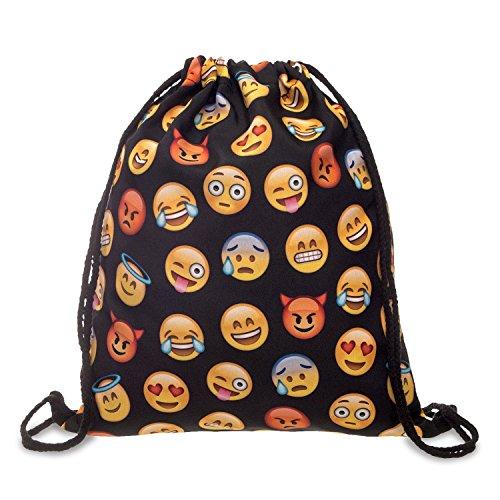 Fullprint Men's Women's Kids PE bag Teenage Drawstring Bag Shoulder School Backpack Rucksack Handbag String Travel Gym (ONE SIZE : High 40 cm / Length 33 cm, EMOJI BLACK)