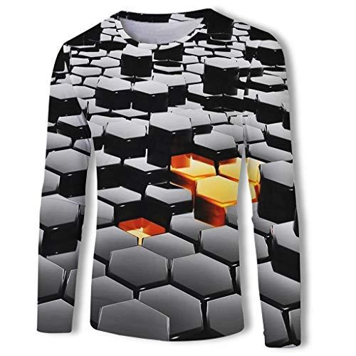 Luckycat Basic Herren Slim Fit Langarm Rundhals Shirt Longsleeve T-Shirt Sweatshirt Herren 3D Langarmshirt Shirt Herren Langarmshirt Männer Longsleeve Sweater dünner Pulli Sweatshirt Pullover