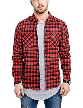 Phoenix Camicia a Quadri Camicia in Flanella Blu Rosso Nero Bianco Plaid Shirt Denim