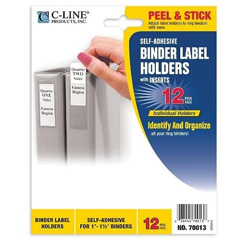 Self-Adhesive Ring Binder Label Holders, Top Load, 3/4 x 2-1/2,