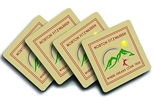 Norton Fitzwarren, 'Where Dreams Come True', UK Town, City Or Village Location, Art Deco Style Humorous Design, Set Of Four Good Quality Drink Coasters, Size 90mm x 90mm.