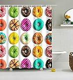 Bunte Donut Badezimmer Duschvorhang, Anti-Schimmel 100% Polyester Badewanne Duschvorhänge, 3D Effekt und Digitaldruck, Wasserdicht mit 12 weißen Haken, 180 x 180cm