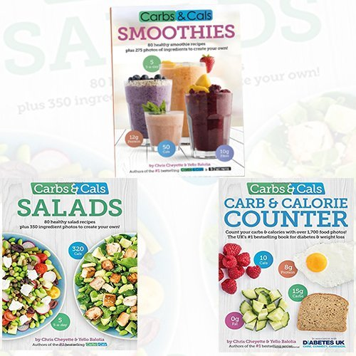 Chris Cheyette Carbs & Cals Collection 3 Books Bundle (Smoothies: 80 Healthy Smoothie Recipes & 275 Photos of Ingredients to Create Your Own!,Salads: 80 Healthy Salad Recipes & 350 Photos of Ingredients to Create Your Own!,Carb & Calorie Counter: Count Your Carbs & Calories with Over 1,700 Food & Drink Photos!)