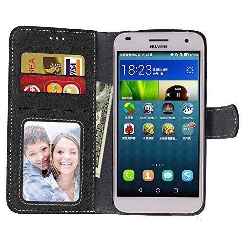 Coque Huawei G7 Plus, Coque G8, Coque GX8, Case Huawei G7 Plus, Housse Huawei G7 Plus, Meet de pour Huawei G7 Plus / G8 / GX8 (5,5 Pouce) Housse de Téléphone en Cuir, coque Portefeuille Case Couvrir P noir