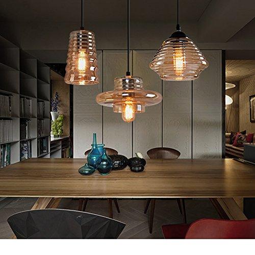 E27 Glas Pendelleuchte Set, geräuchert Modern Water Ripples Glas Lampe Schatten Esszimmer Home Decor. Kronleuchter Befestigung Hängende Lampe (Glas-pendelleuchte-lampen-farbtöne)