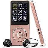 Swees Ultra-longue lecture de musique jusqu'à 70 heures Lecteur 8GB MP3 avec (soutien la carte mémoire de 64Go),Or Rose