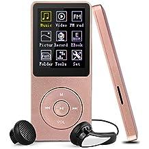 Reproductor MP3 8GB, Swees Reproductor de música sin pérdida de sonido 70 horas de autonomía con función Radio FM, Apoya Tarjeta de Memoria hasta 64GB, color oro rosa