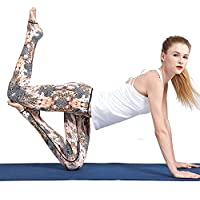 Pantalones de yoga de bolsillo de cintura alta. Ej Pantalones de yoga Europa y Estados Unidos Step Foot Yoga Slim Thin Waist Printing Sports Running Fitness ( Color : Leopardo , tamaño : L )