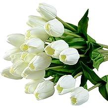 Bonigar 10 Piezas Tulipán Flores Artificiales falsas Material de PU Adorno para Boda Ceremonias Navidad Hogar Decoración 3 colores (blanco)