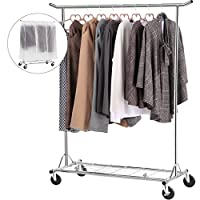 LANGRIA Heavy Duty Rolling Clothes Rail on Wheels with Transparent Cover Height Adjustable Collapsible Hanging Clothes Garment Rack Load Capacity 65kg for Bedroom Dressing Room Shop (Chrome)