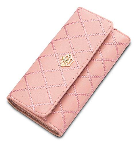 Signore Corona Portafoglio Elegante Borsa Lungo Portamonete Borsello Donna Pelle Portamonete rosa
