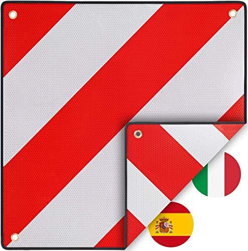 PLANGER® - Warntafel Italien und Spanien 2in1 (50 x 50 cm) - Reflektierendes Warnschild rot weiß für Heckträger u Fahrradträger