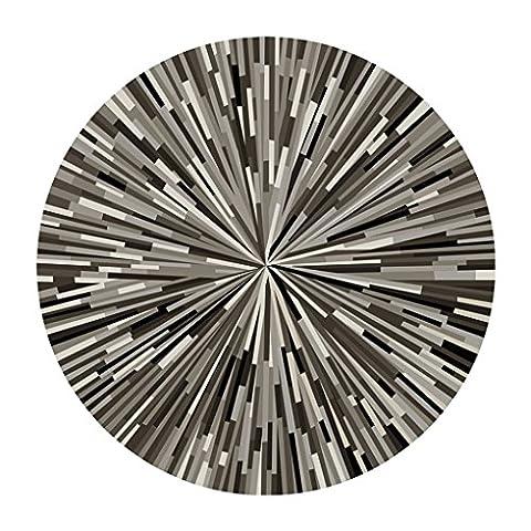 Runder Teppich, Geometrie Streifen Teppich Schwarz und weiß grau Einfache abstrakte Muster Runde Teppich Studie Computer Tische und Stühle Teppich ( größe : Diameter 80cm )
