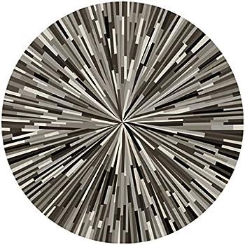 Runde Teppich amazon de runder teppich geometrie streifen teppich schwarz und