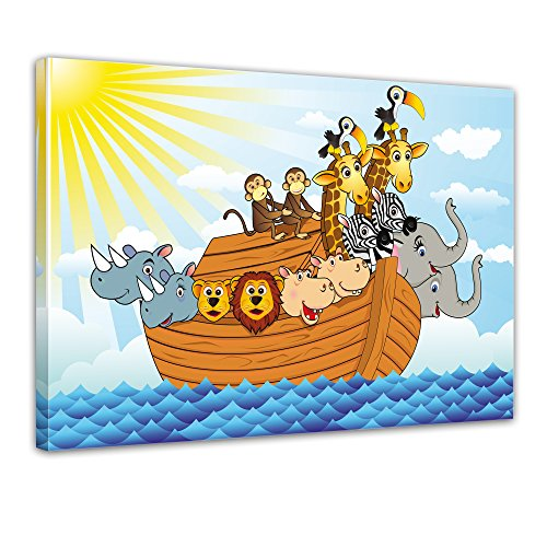 Keilrahmenbild - Kinderbild - Arche Noah Cartoon - Bild auf Leinwand - 120x90 cm - Leinwandbilder - Kinder - Bibel - Flut - Boot im Wasser - Tiere