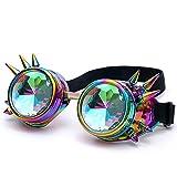 FRAUIT Herren Kaleidoskop Sonnenbrille Bunte Brille Rave Festival Party EDM Sonnenbrille gebeugte Linse Niet-Gläser Ultra Pre
