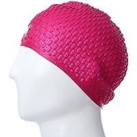 Zhuhaimei,Gorro de natación de Silicona Impermeable Unisex Adulto Protege el Cabello con Sombrero para Las Orejas(Color:Rosa ROJA)