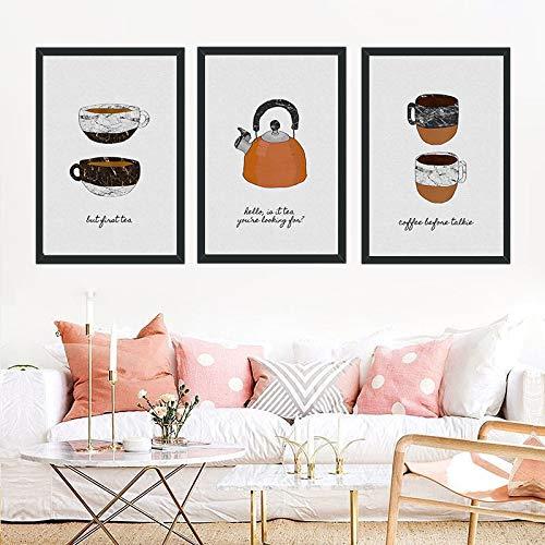 Nette karikatur kaffeetasse mit kleinen topf leinwand malerei wandmalerei kein rahmen kern karikatur leinwand hängen malerei aliexpress meistverkaufte 3 stücke 60x80 cm kein rahmen