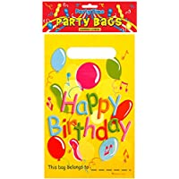 Henbrandt Plastic Happy Birthday Loot/Birthday Party Bags (Pack of 12)