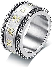 Vnox 11mm Hombre Acero Inoxidable Budista Om Mani Padme Hum Spinner Perlas de Cadena de Anillo Giratorio para Compromiso de Boda Regalo de San Valentín