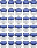 30 Salbendöschen, Creme-döschen, Salbenkruke flach, 35ml Inhalt mit blauen Deckeln - MADE IN GERMANY