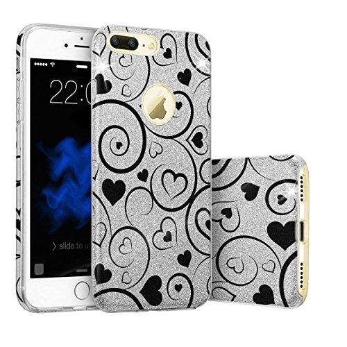 EGO Hülle Glitzer Schutzhülle für iPhone 6 6S Silber Schmetterling Back Case Bumper Glänzend Transparente TPU Bling Weiche Glamour Handy Cover Silber Herz + Glas