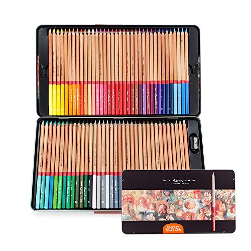 Ligh twish–72Count Premium ausgeprägte lápices de colores para adultos colorear.–vorgesc härft–Número a plomo lápices de colores (Juego de lapiceros)