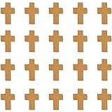 PandaHall 50pcs ciondoli Vintage a Forma di Croce Legna 22x14x4 mm Marrone