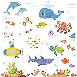 Decowall DW-1611S Abenteuer auf See Meerestiere Tiere Wandtattoo Wandsticker Wandaufkleber Wanddeko für Wohnzimmer Schlafzimmer Kinderzimmer (Englische Ver.)