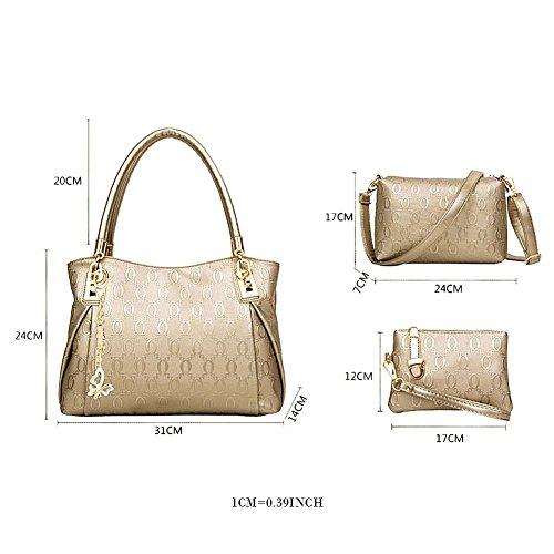 West See Damen 3 teiliges Handtaschenset im Vintage Umhängetasche Henkeltasche Schultertasche Geldbörse Crossbody Tasche Gold