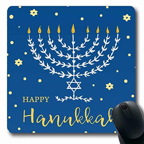 Luancrop Mousepads Glückliche Kerze Chanukka Menorah-Beschriftung gezeichnete Feiertage Chanukka-Weinlese-Kerzenhalter Feiern Sie rutschfeste Spiel-Mausunterlage Gummi-längliche Matte