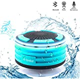Bluetooth Speaker, Finny IPX7 Wireless Speaker Waterproof Shower Radios With FM Radio And LED Mood Lights, For Car Driving, Shower, Beach, Kitchen & Outdoors (Blue)