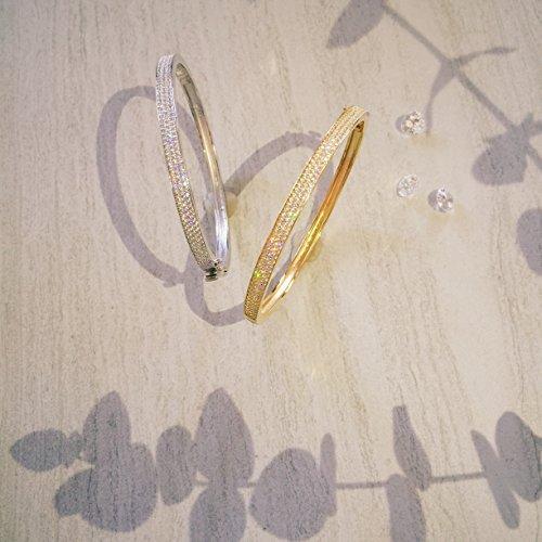 crislu Femme ronde Transparent Bracelet Serti Oxyde de Zirconium Gold Plated 925 Sterling Silver