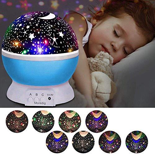 Preisvergleich Produktbild Sternenhimmel Projektor,  Led Nachtlicht,  Projektor Lampe,  360° Grad Rotation LED Kinderlampe Nachtlampe Schlafzimmer Nachtlicht,  Kinder (8 Licht Modus) - Blau