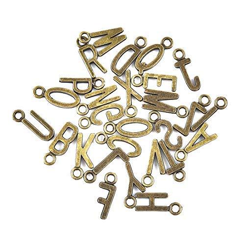 OBSEDE Alphabet Brief Anhänger Großbuchstaben Charms Wachs Stempel für DIY Handwerk, Schmuck Machen Antike Bronze 130 Stücke
