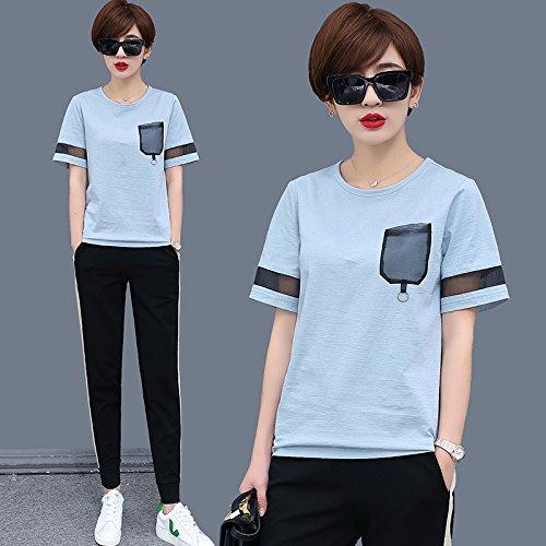 MoMo T-shirt à manches courtes femmes été T-shirt à poche en maille lâche T-shirt à manches longues en coton,bleu,XXXL