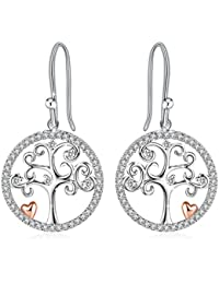 J.Rosée Silver Earrings, Circle Earrings, Jewellery Drop Earrings with 925 Sterling Silver, 3A Cubic Zirconia Tree of Life, Graduation Gifts, Exquisite Package