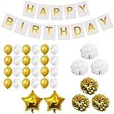 33-tlg Dekorationen-Set - Gold und Weiß - Pom-Poms, Happy Birthday Banner, Latexballons und Folienballons - Geburtstag, Kinder-Partys, Baby-Partys - Dekorationen Zubehör für Mädchen, Jungen