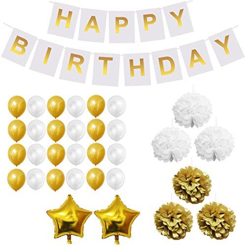 -Set - Gold und Weiß - Pom-Poms, Happy Birthday Banner, Latexballons & Folienballons von Belle Vous - für Geburtstag, Kinder-Partys, Baby-Partys, Abschlussfeiern und Hochzeitsfeiern - Großpackung Dekorationen Zubehör für Mädchen, Jungen & Erwachsene (Ballon-bogen-zum Geburtstag-party)