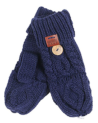 Aran Workshop Navy Blue Foldover Cable Knit Fingerless Mitts - Cable Knit Mitt