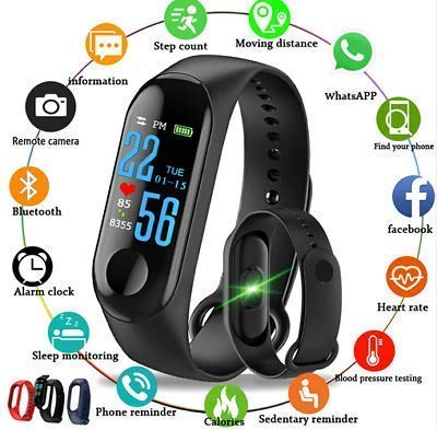 Clothsfab Bluetooth M3 Smart Band with Splash proof Touch Fitness Activity Calorie Blood Pressure Heart Rate Sensor Monitor OLED Band