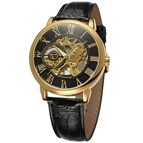 Forsining Men\'s Mechanical Hand-wind Skeleton Fashion Analogue Wristwatch FSG8099M3G2