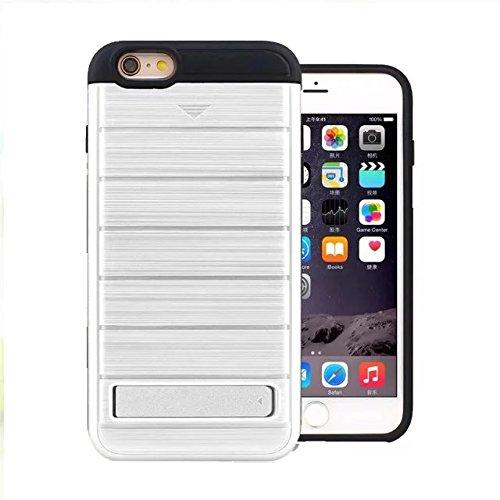 """iPhone 6 Plus Hülle,iPhone 6S Plus Hülle,Lantier 2 in 1 gebürstetem Metall Texture Wallet Serie Schutzmaßnahmen Hard Case Cover mit Kickstand und Kartenfach für iPhone 6 Plus/6S Plus 5.5"""" Grau Brushed Texture Silver"""