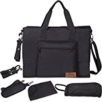 Baby Nappy Bag – Ollimy Large Nappy Changing Bags Tote Messenger Rucksack Organiser – Baby Changing Bags for Mums Dads with Stroller Straps Changing Mat Insulated Pockets for Girls Boys (Black)