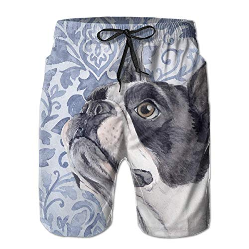 KLYDH Boston Terrier Mens Swim Trunks Quick Dry Board Shorts with Pockets Summer Beach Short with Mesh Liner£¬,Size:Medium