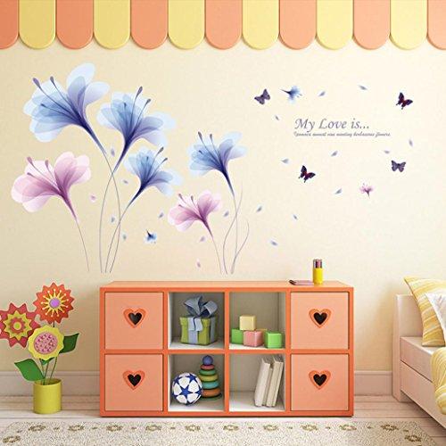 Wandtattoo von CHSHE mit Orchideen DIY wieder entfernbar Wandaufkleber, für Zuhause einer Familie Wandsticker Wandkunst Heimdekor fürs Wohnzimmer Schlafzimmer TV Hintergrund Wand