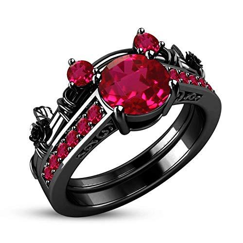 Yiweikj Value-for-Money Zubehör Mode Schwarz Gold Mosaik Bunt Zirkonia Saphir Ring Prinzessin Schnitt Zirkonia Paar Ring für Damen & Mädchen - Rosa Diamant 6 (Schwarz Und Rosa Saphir-ring)